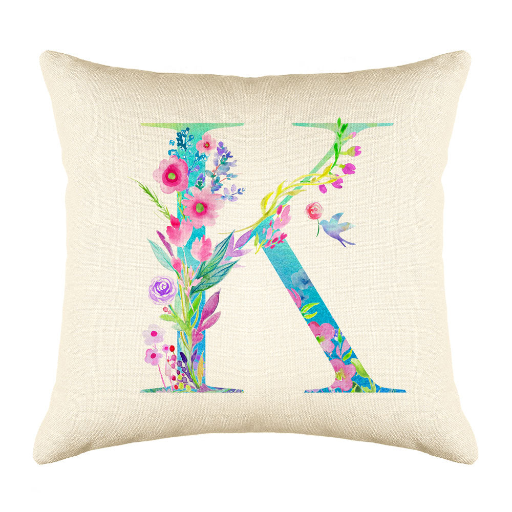 Floral Watercolor Monogram Letter K Throw Pillow Cover