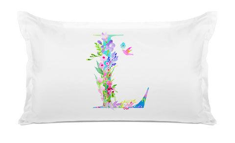 Floral Watercolor Monogram Letter L Pillowcase