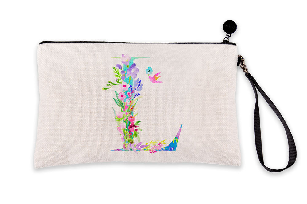 Floral Watercolor Monogram Letter L Makeup Bag