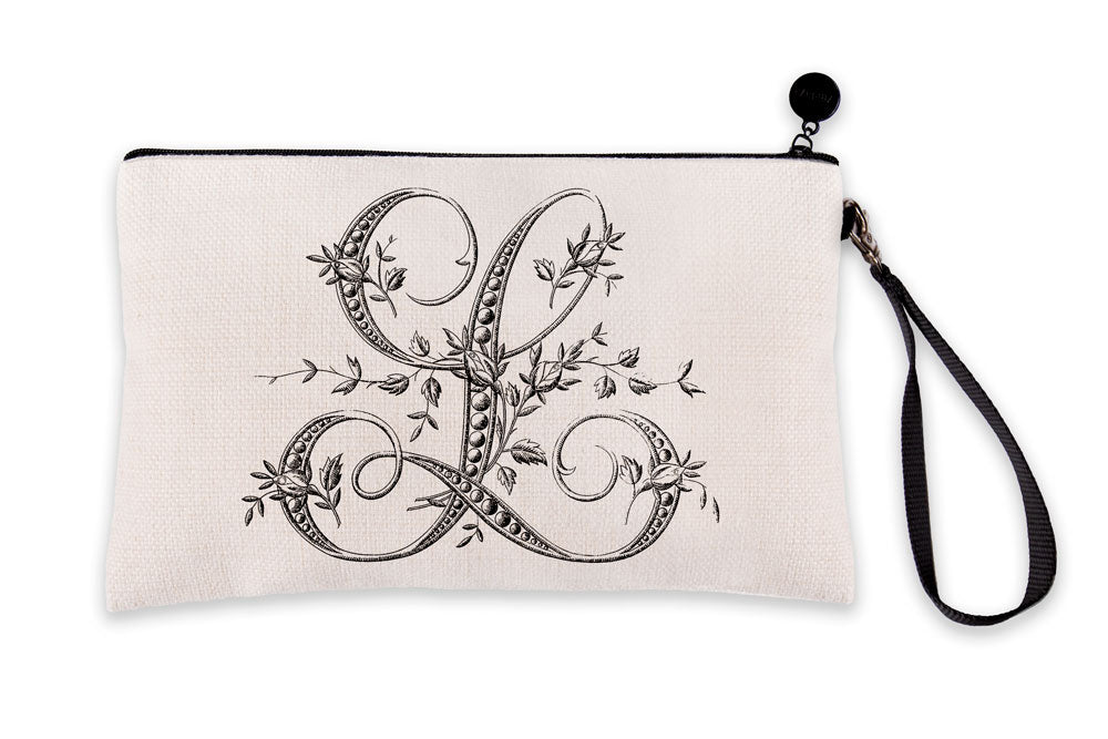 Vintage French Monogram Letter L Makeup Bag