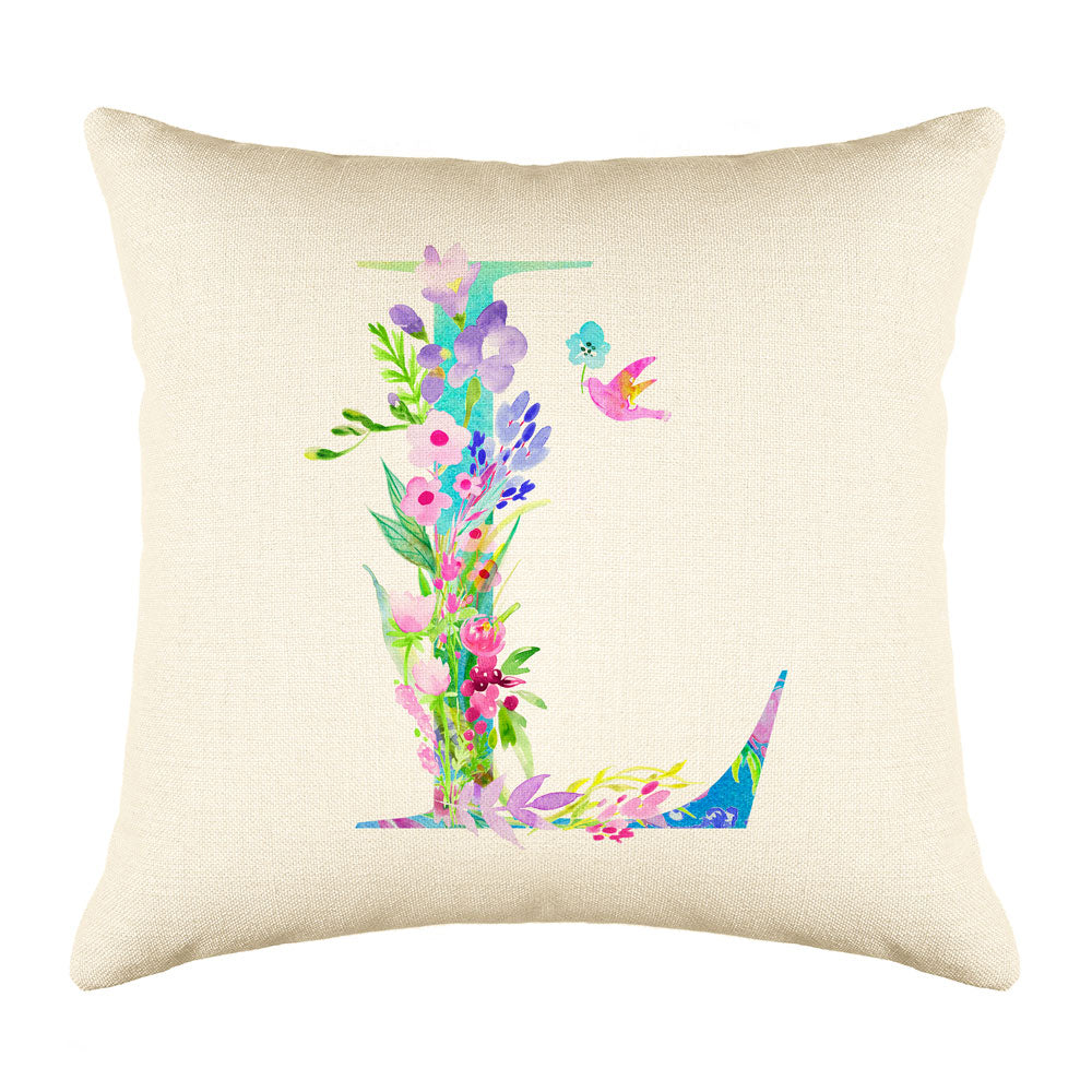 Floral Watercolor Monogram Letter L Throw Pillow Cover
