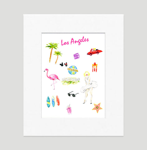 Los Angeles Art Print - Travel Print Wall Art Collection-Matted-Di Lewis