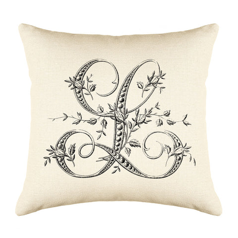 Vintage French Monogram Letter L Throw Pillow Cover