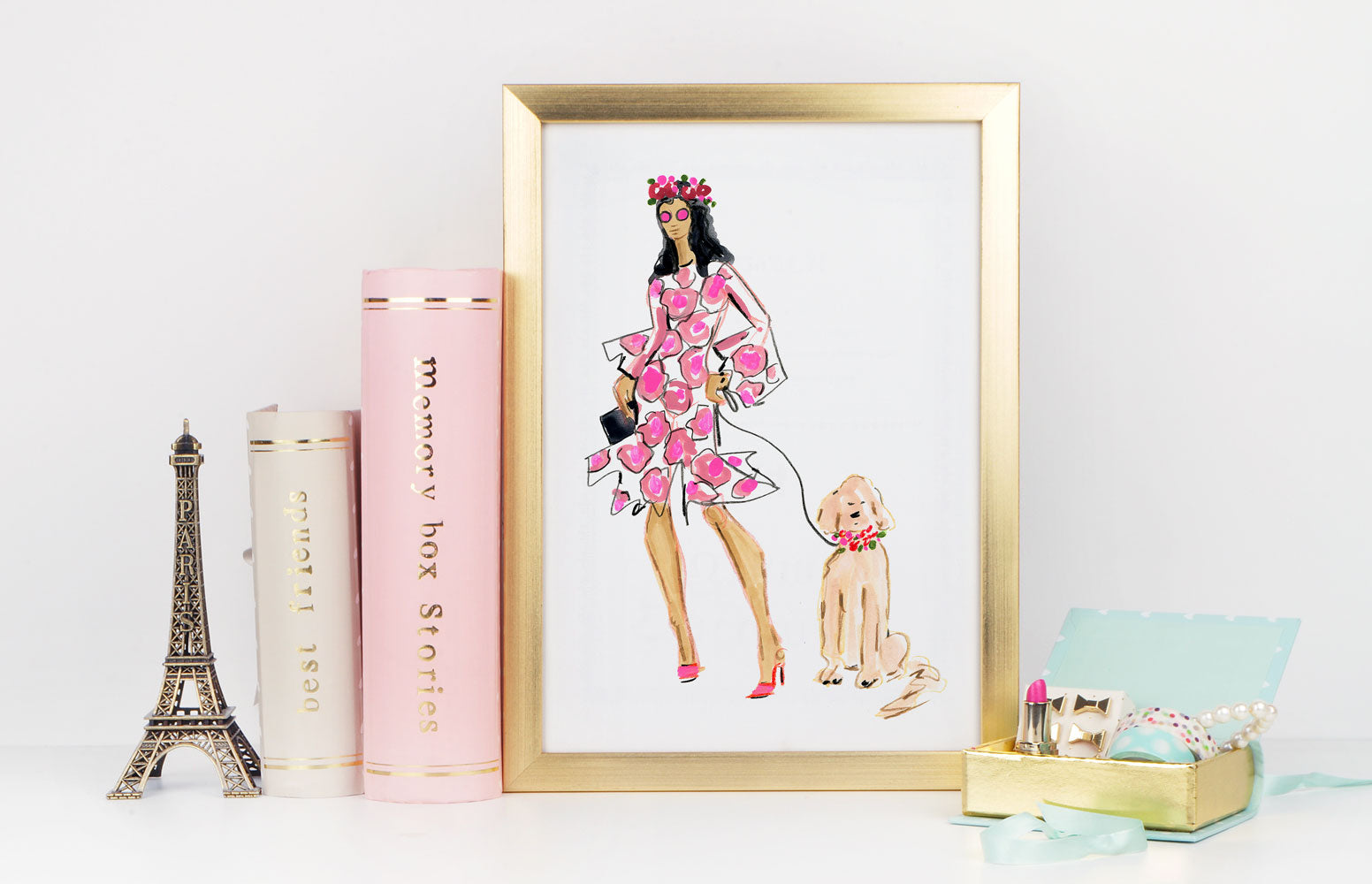 Lady In Pink Art Print - Fashion Illustration Wall Art Collection