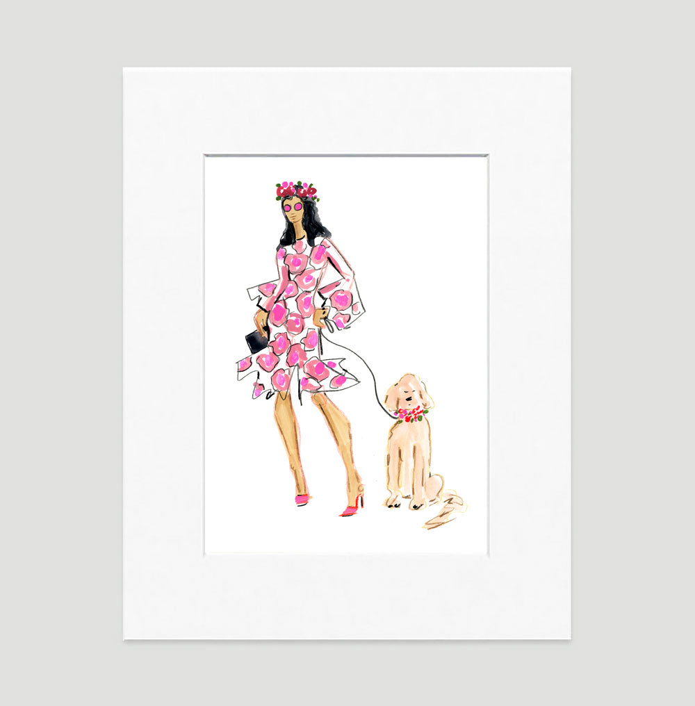 Lady In Pink Art Print - Fashion Illustration Wall Art Collection-Di Lewis