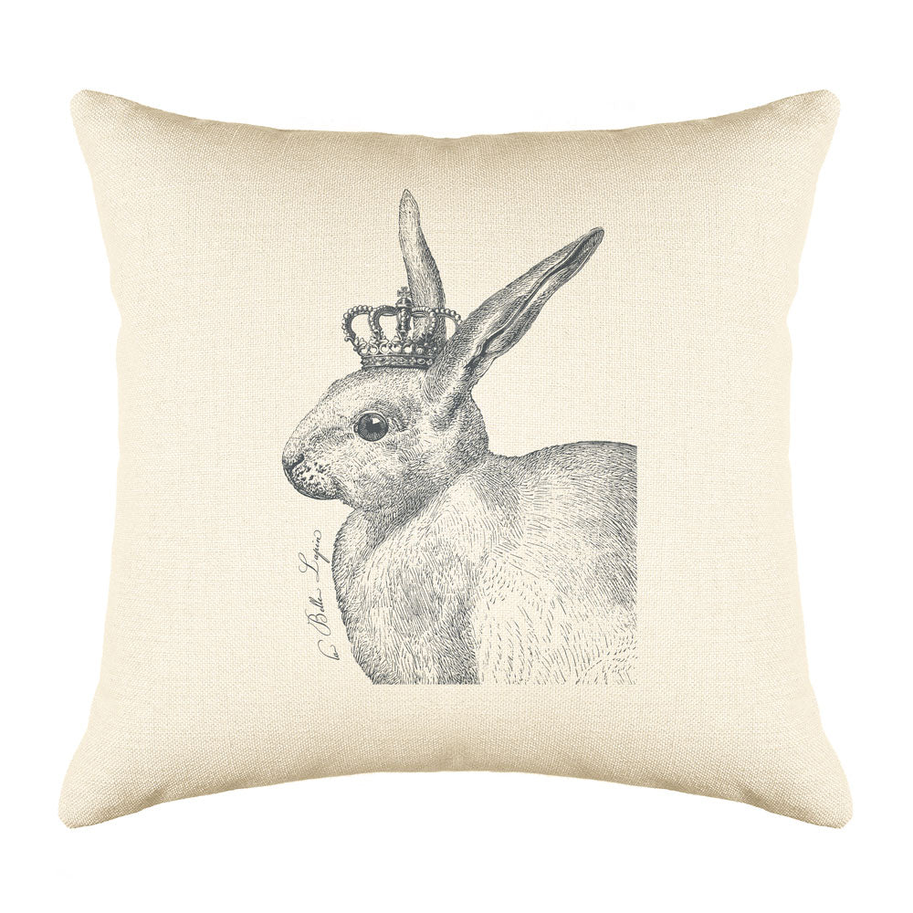 The Royal Rabbit Throw Pillow Cover - Animal Illustrations Throw Pillow Cover Collection-Di Lewis