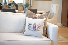 Larry, Moe & Curly Throw Pillow Cover - Dog Illustration Throw Pillow Cover Collection-Di Lewis