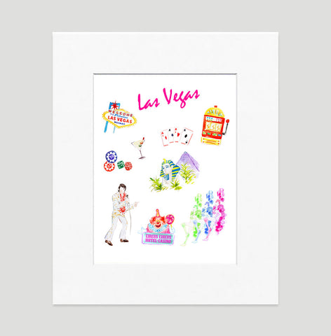 Las Vegas Art Print - Travel Print Wall Art Collection-Matted-Di Lewis