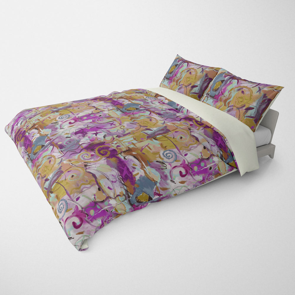 ABSTRACT DUVET COVERS & BEDDING SETS - LE FETE AUBERGINE GOLD - GEOMETRIC DESIGN - HYPOALLERGENIC