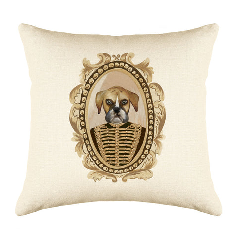 Lieutenant Boxer Throw Pillow Cover - Dog Illustration Throw Pillow Cover Collection-Di Lewis