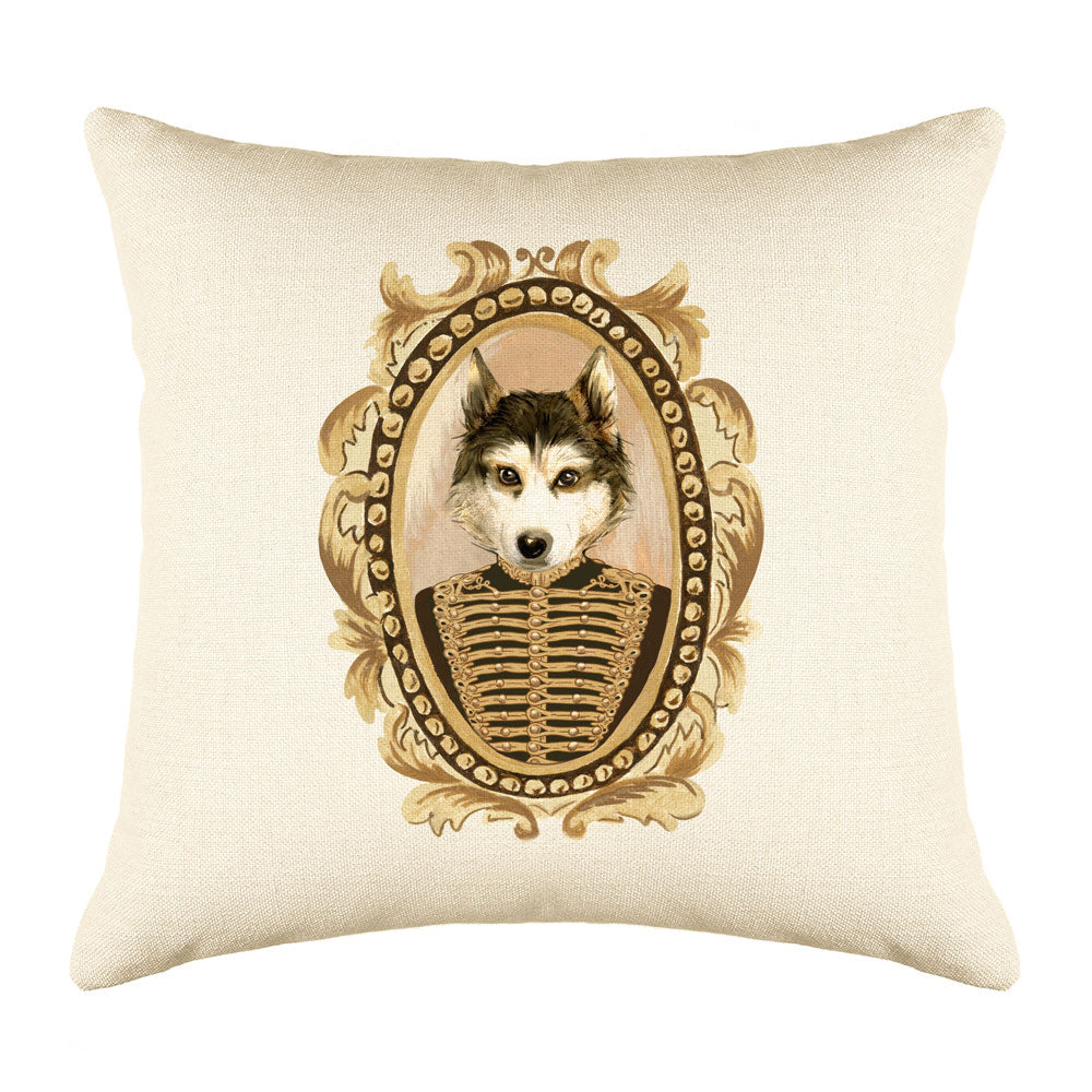 Lieutenant Husky Throw Pillow Cover - Dog Illustration Throw Pillow Cover Collection-Di Lewis