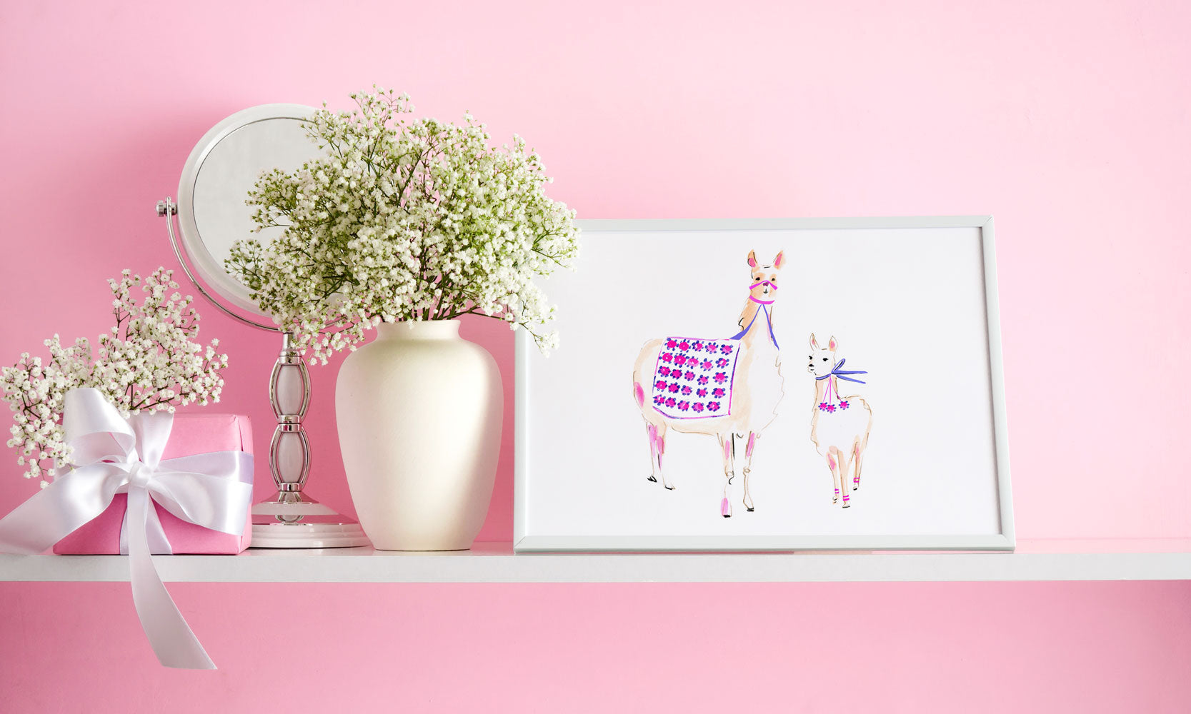Pinot And Camillia Llama Art Print - Animal Illustrations Wall Art Collection-Di Lewis