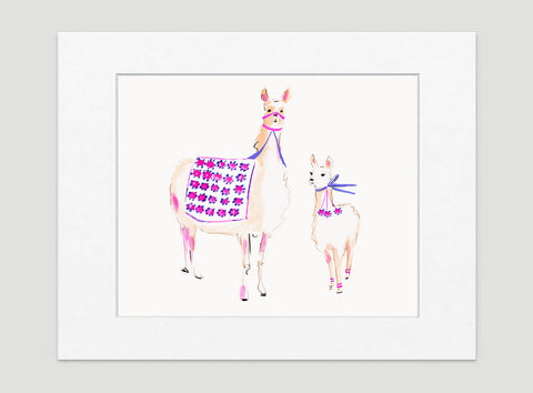 Pinot And Camillia Llama Art Print - Animal Illustrations Wall Art Collection-Matted-Di Lewis