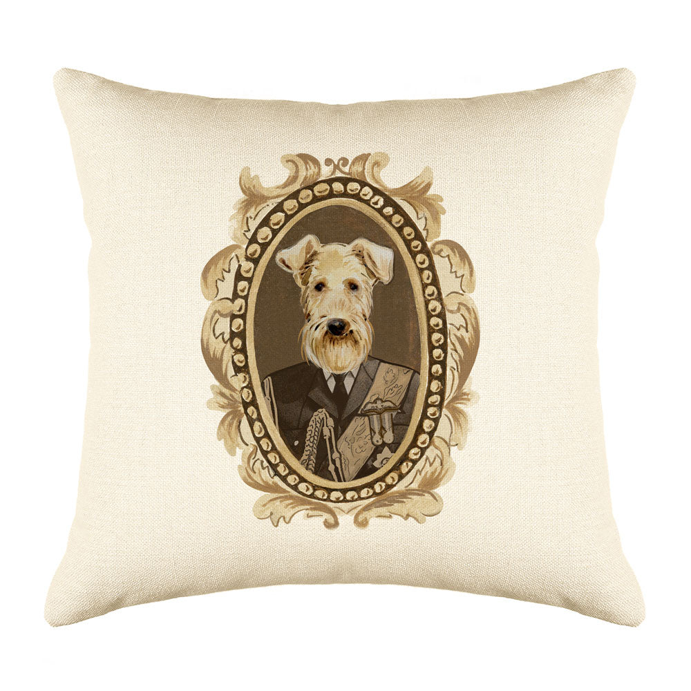 Lord Airedale Throw Pillow Cover - Dog Illustration Throw Pillow Cover Collection-Di Lewis