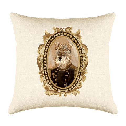 Lord Schnauzer Throw Pillow Cover - Dog Illustration Throw Pillow Cover Collection-Di Lewis