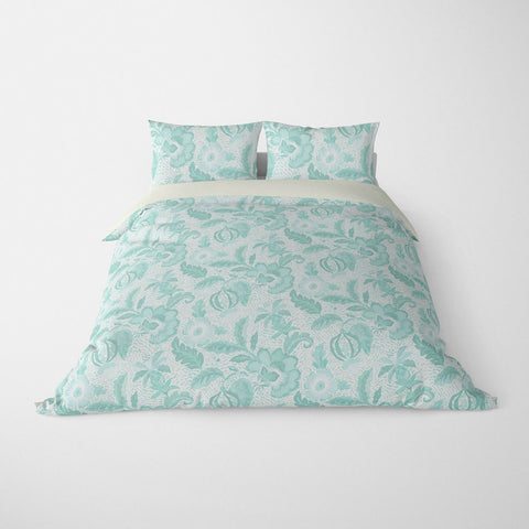 DECORATIVE DUVET COVERS & BEDDING SETS LUAU AQUA - FLORAL DESIGN - HYPOALLERGENIC