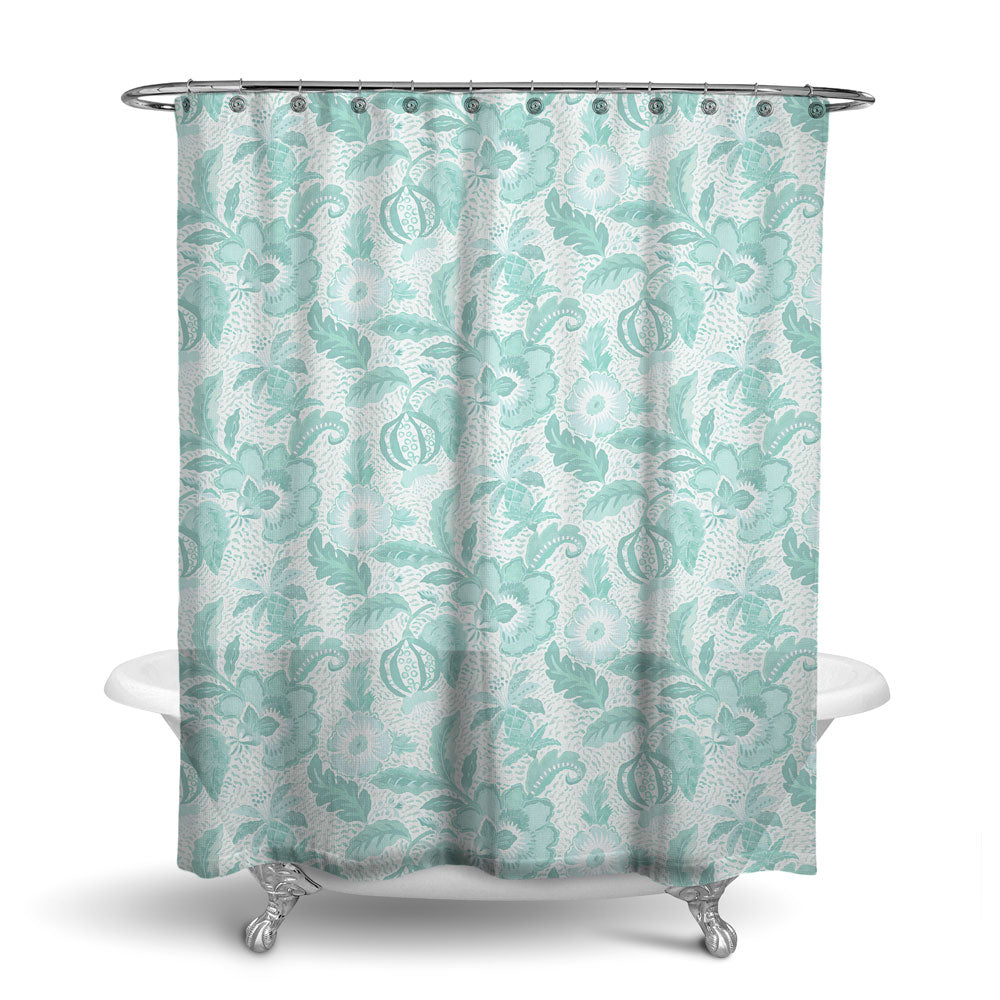 LUAU - DECORATIVE SHOWER CURTAIN - AQUA - FLORAL DESIGN
