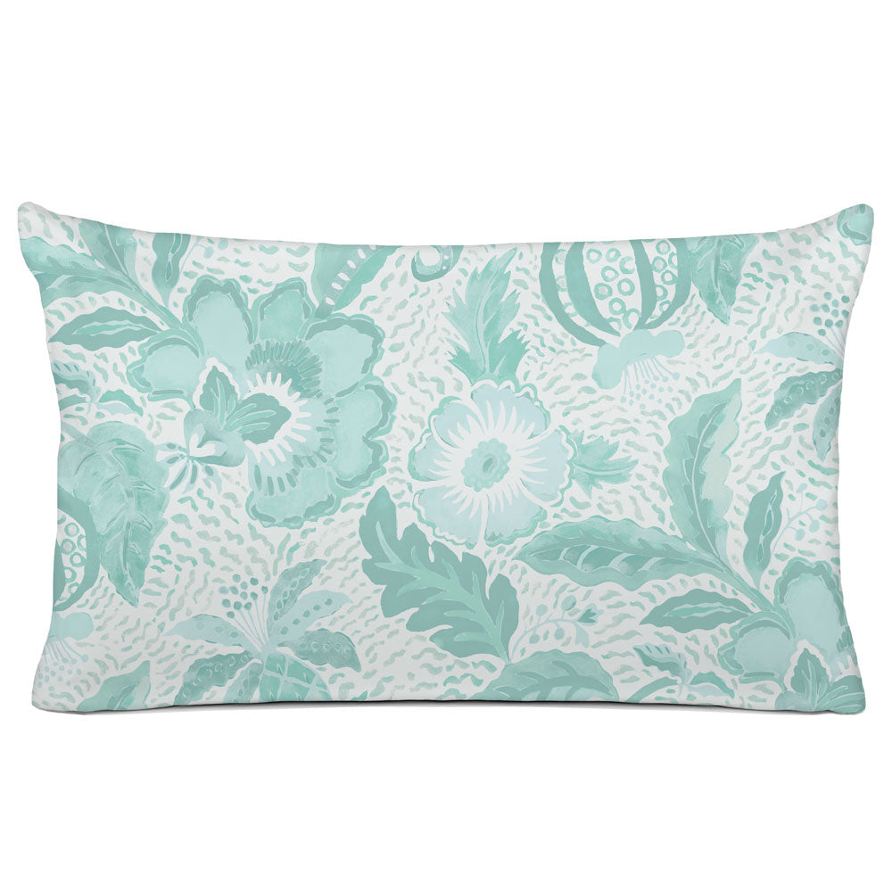 DECORATIVE PILLOW SHAM - BEDDING - LUAU AQUA - FLORAL DESIGN