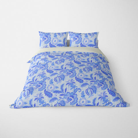 DECORATIVE DUVET COVERS & BEDDING SETS LUAU AZURE BLUE - FLORAL DESIGN - HYPOALLERGENIC