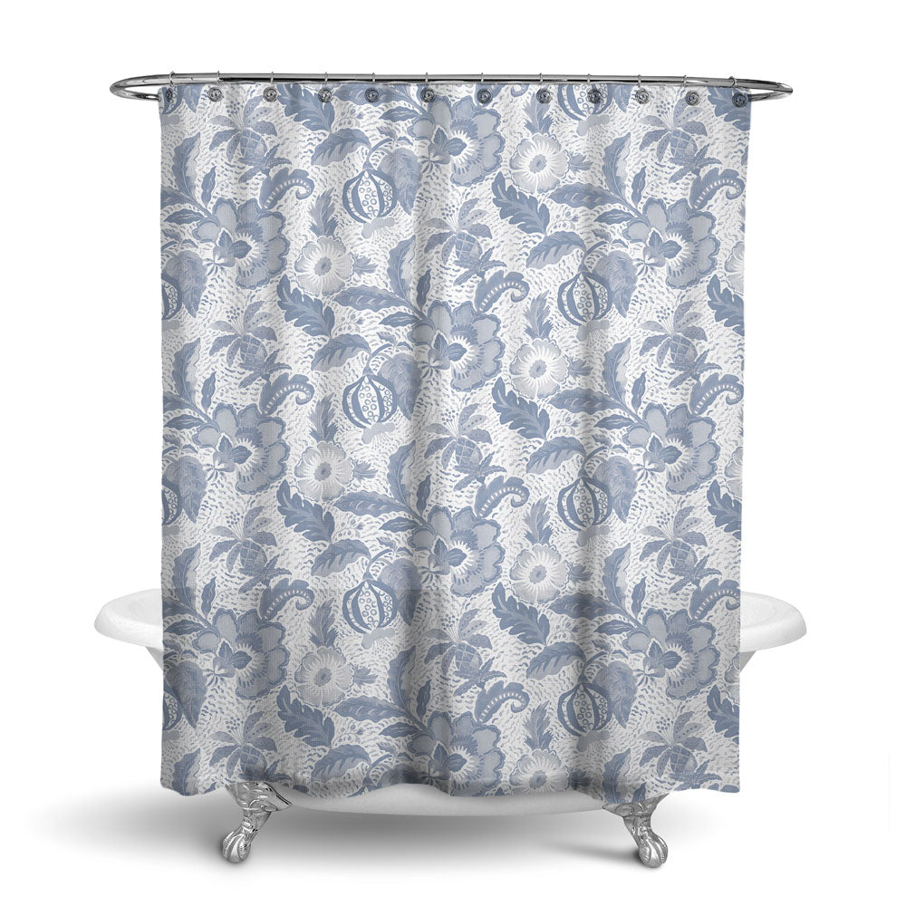 LUAU - DECORATIVE SHOWER CURTAIN - SLATE GREY - FLORAL DESIGN