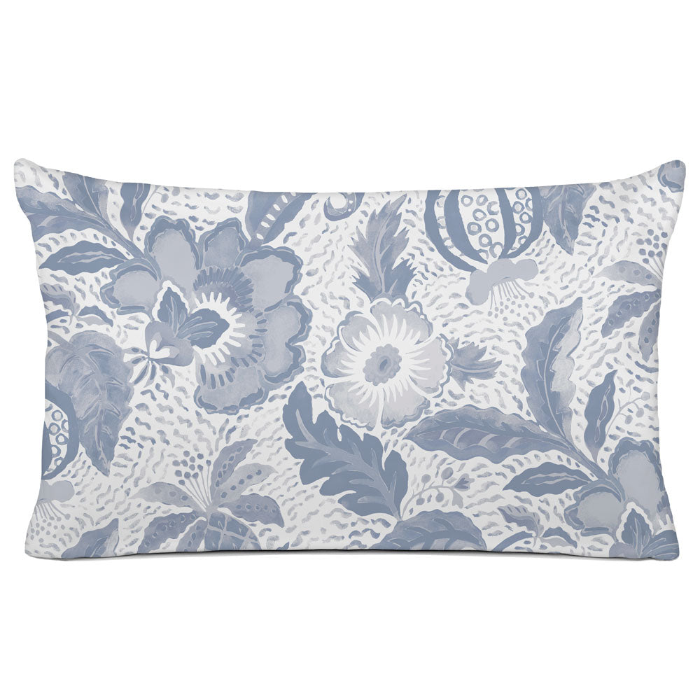DECORATIVE PILLOW SHAM - BEDDING - LUAU SLATE GREY - FLORAL DESIGN