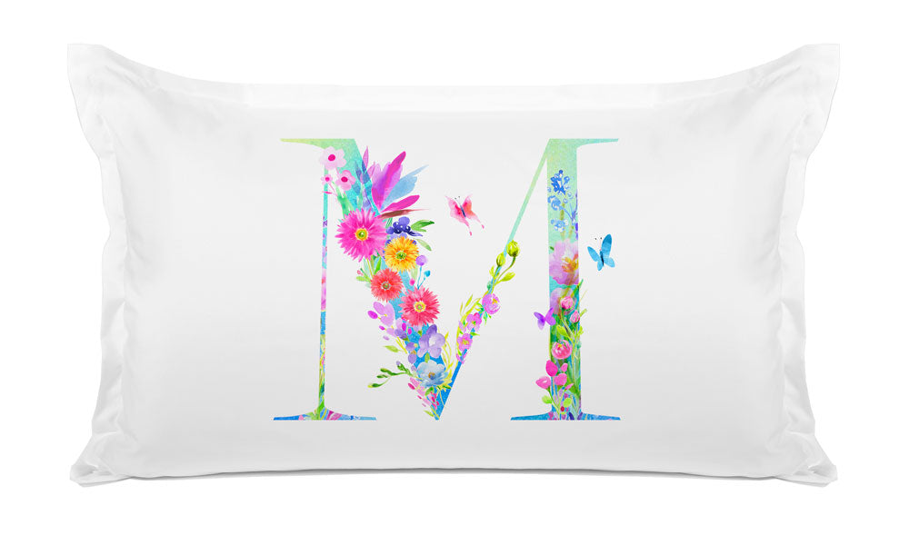 Floral Watercolor Monogram Letter M Pillowcase