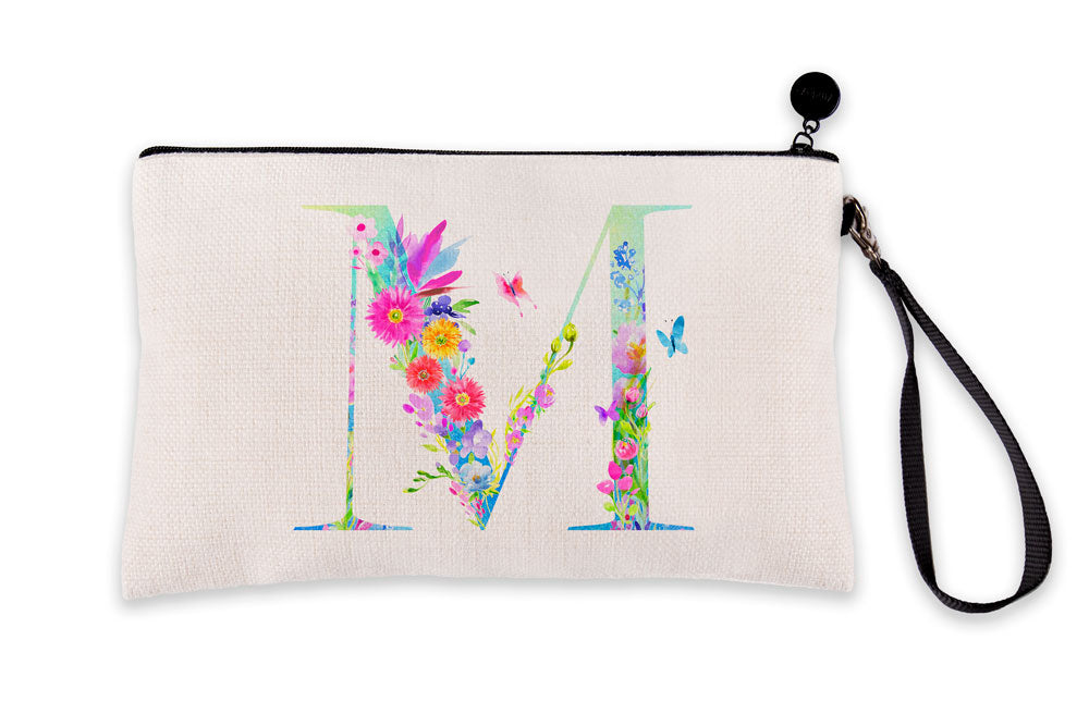 Floral Watercolor Monogram Letter M Makeup Bag