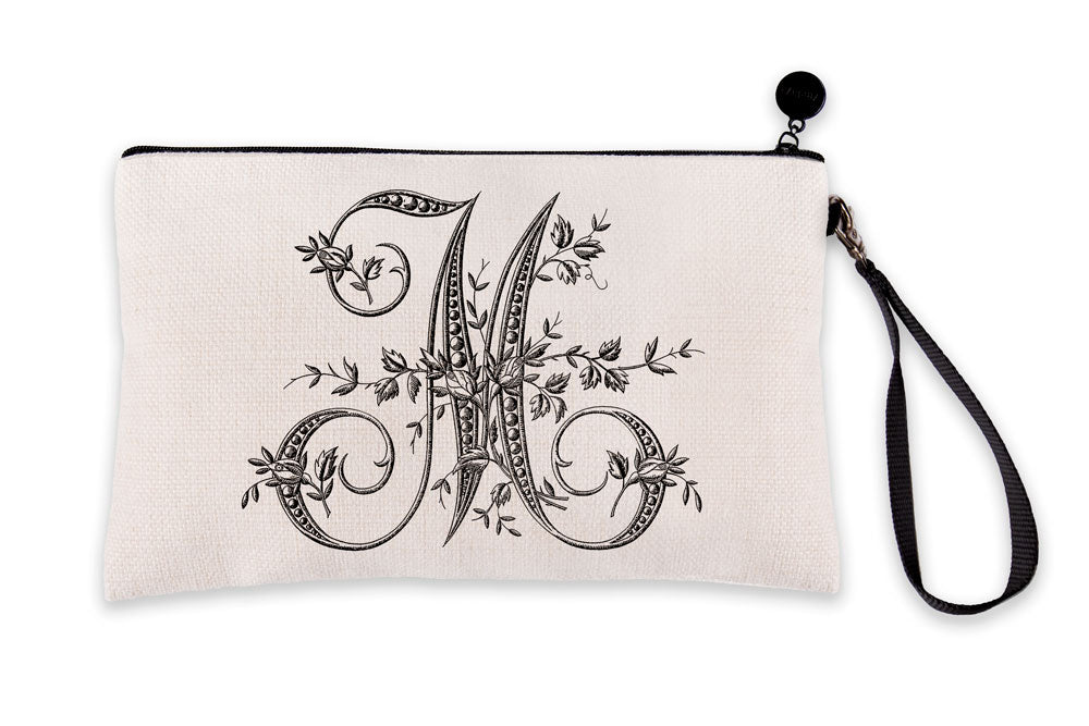 Vintage French Monogram Letter M Makeup Bag