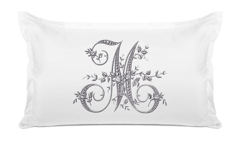 Vintage French Monogram Letter M Pillowcase
