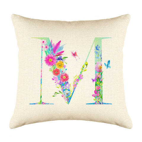 Floral Watercolor Monogram Letter M Throw Pillow Cover