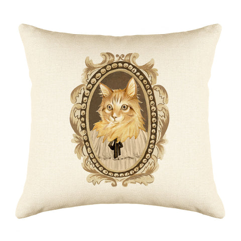 Maine Coon Cat Throw Pillow Cover - Cat Illustration Throw Pillow Cover Collection
