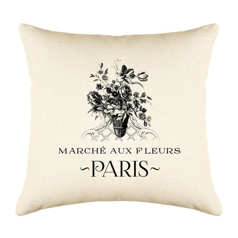 Marché Aux Fleurs Floral Throw Pillow Cover - Decorative Designs Throw Pillow Cover Collection-Di Lewis