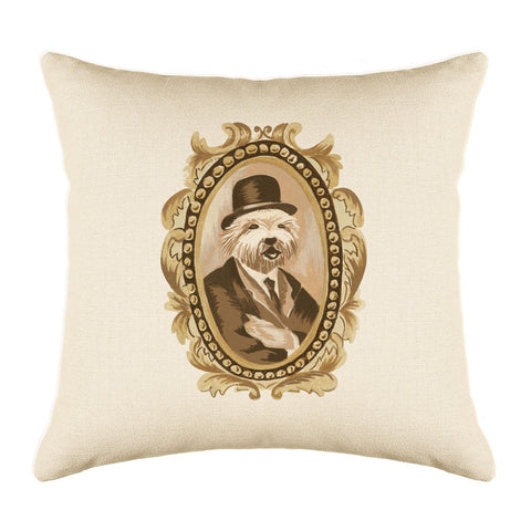 Mayor Maltese Throw Pillow Cover - Dog Illustration Throw Pillow Cover Collection-Di Lewis