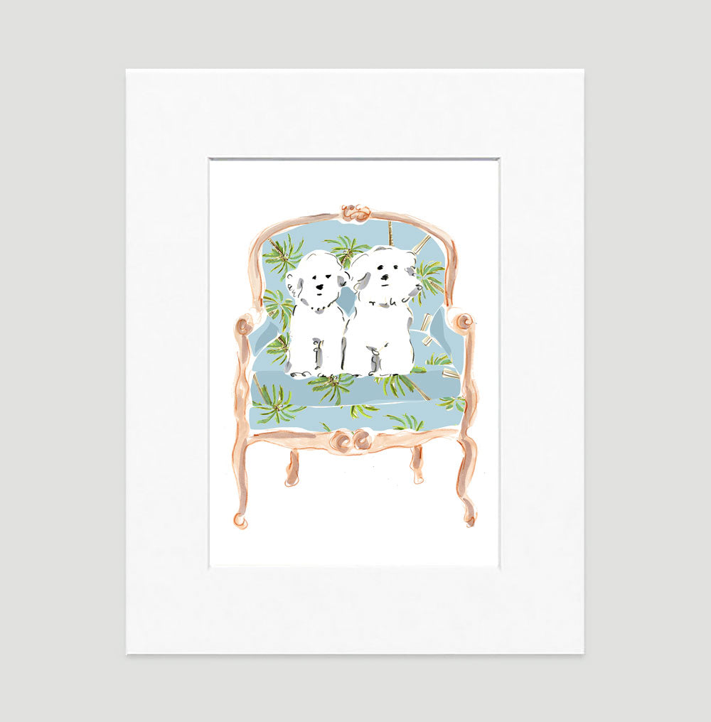 Mitsy And Molly The Maltese Duo Art Print - Dog Illustrations Wall Art Collection-Di Lewis