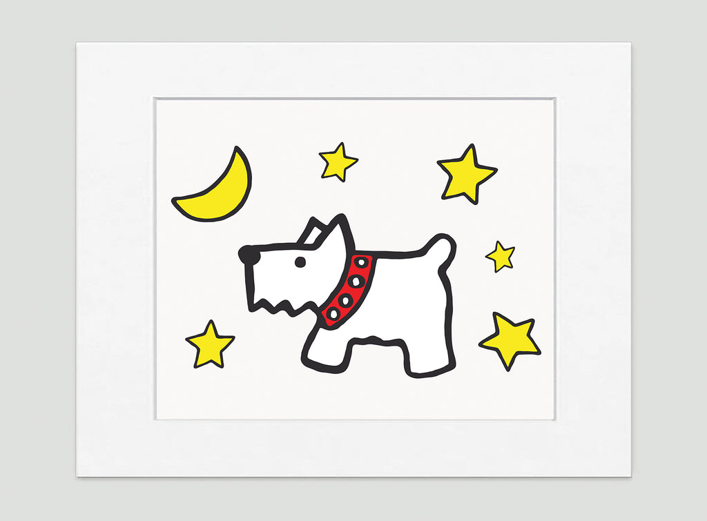 Moon Dog Art Print - Kids Wall Art Collection-Di Lewis
