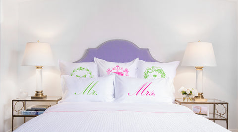 Mr Mrs pillow set Di Lewis bedroom decor