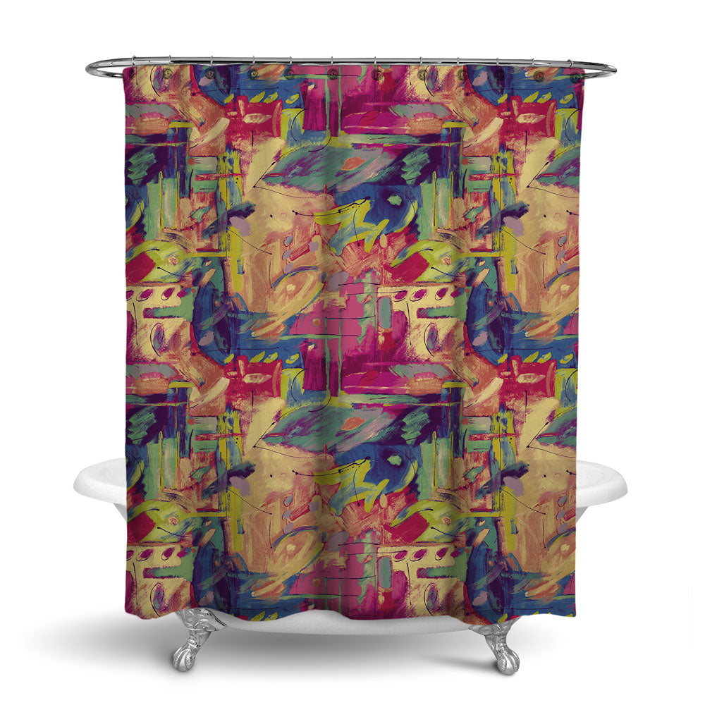 MUSEE - ABSTRACT SHOWER CURTAIN - JEWEL - CONTEMPORARY DESIGN