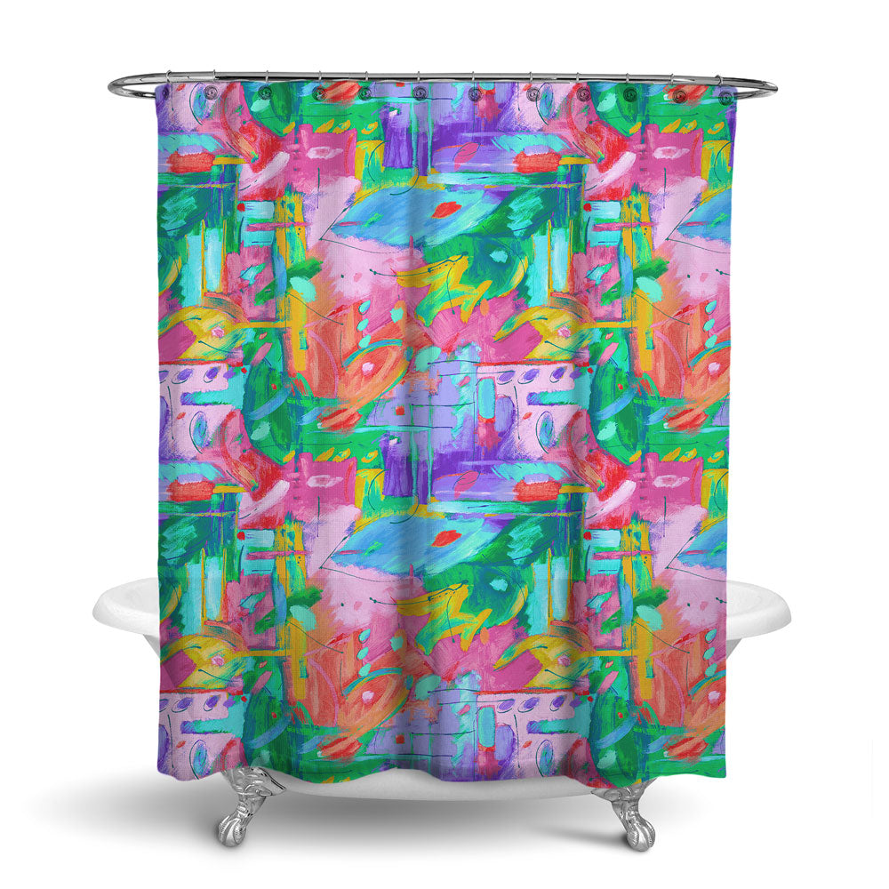 MUSEE - ABSTRACT SHOWER CURTAIN - MULTI COLOR - CONTEMPORARY DESIGN