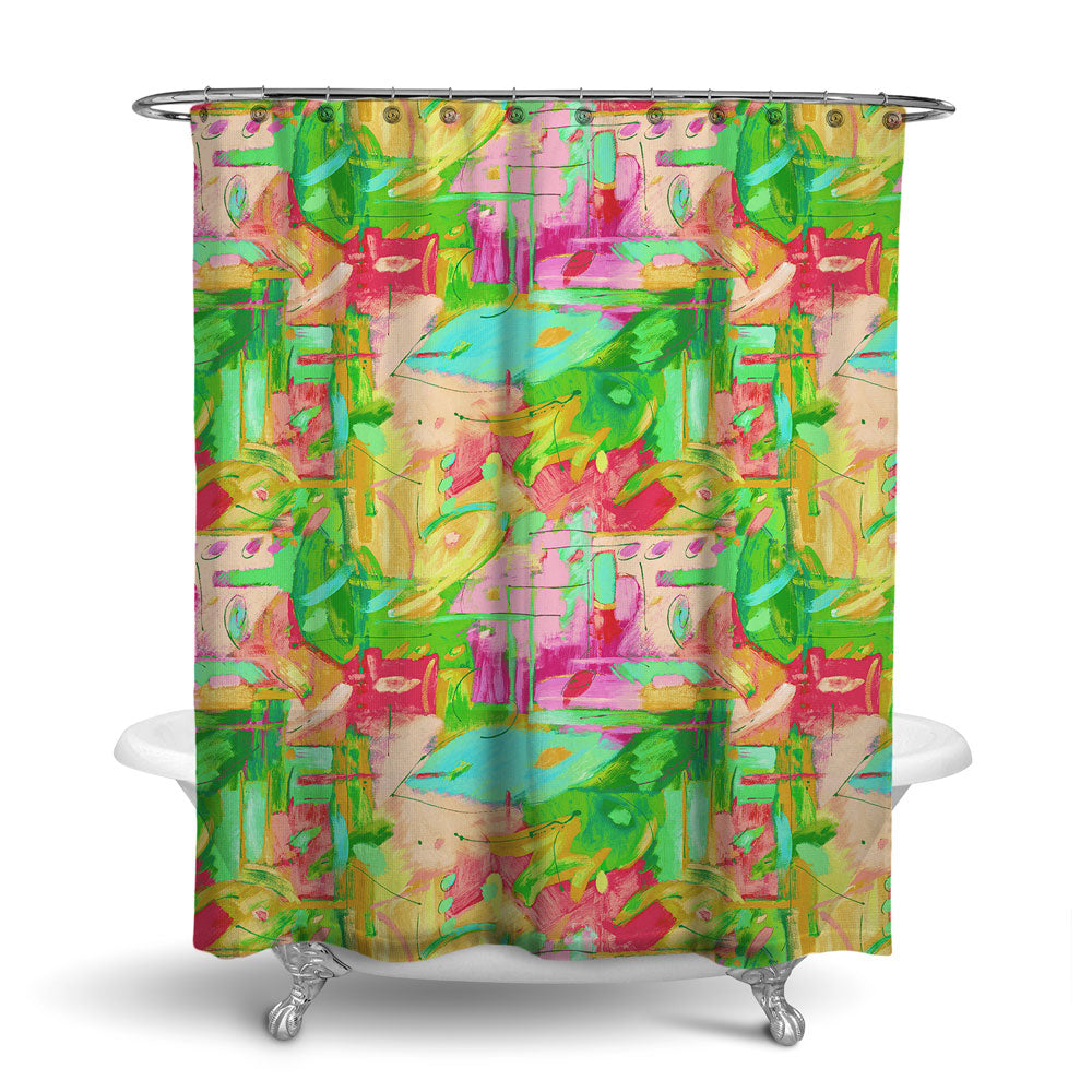 MUSEE - ABSTRACT SHOWER CURTAIN - PAINTBOX - CONTEMPORARY DESIGN