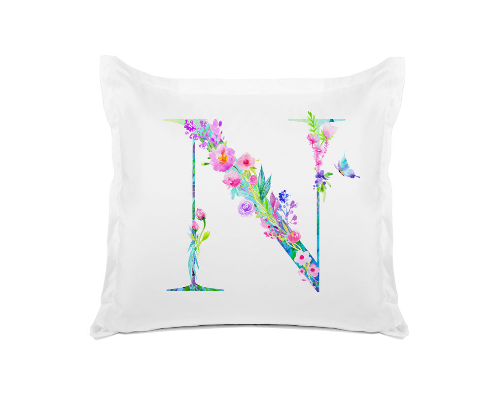 Floral Watercolor Monogram Letter N Pillowcase