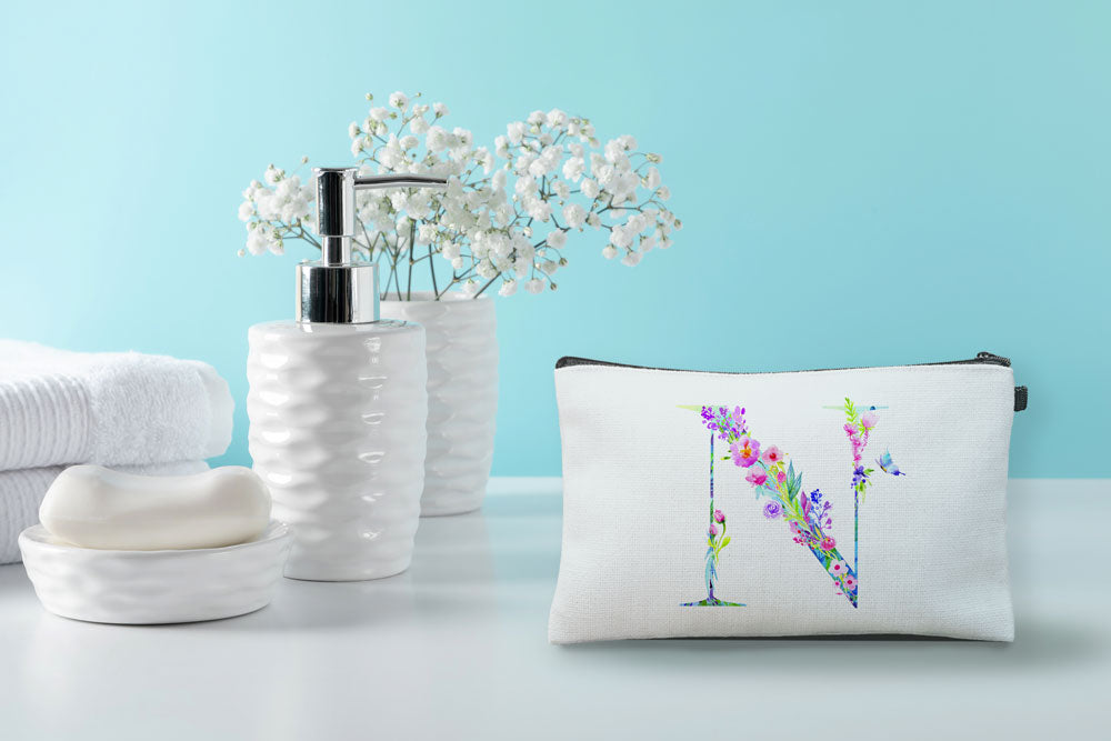Floral Watercolor Monogram Letter N Makeup Bag