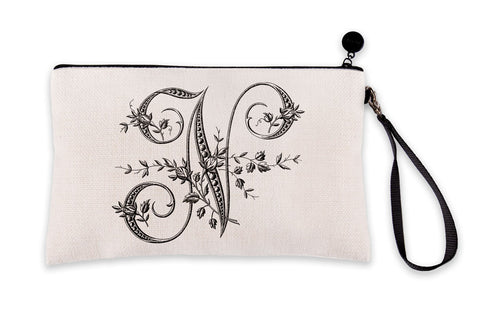 Vintage French Monogram Letter N Makeup Bag