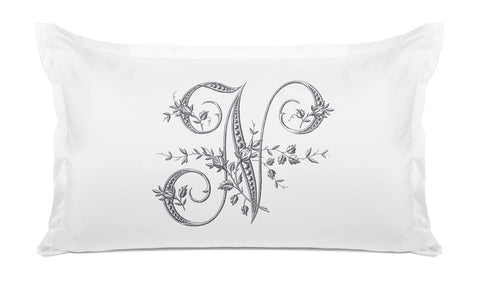 Vintage French Monogram Letter N Pillowcase