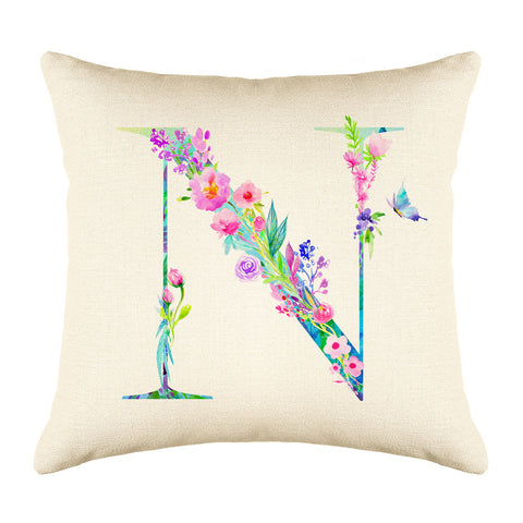 Floral Watercolor Monogram Letter N Throw Pillow Cover