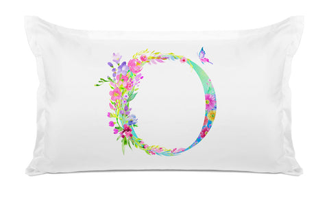 Floral Watercolor Monogram Letter O Pillowcase