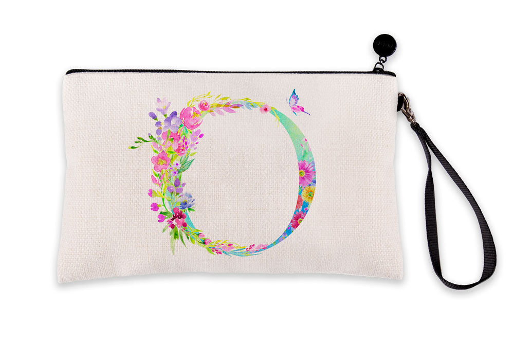Floral Watercolor Monogram Letter O Makeup Bag