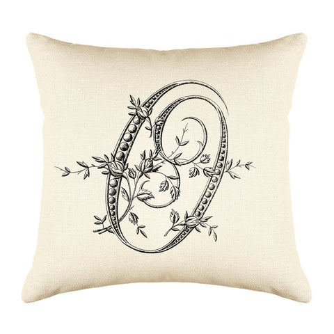 Vintage French Monogram Letter O Throw Pillow Cover