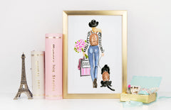 Off To School Art Print - Fashion Illustration Wall Art Collection-Di Lewis