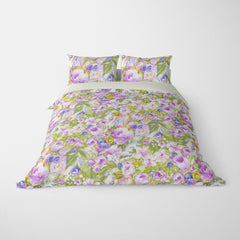 FLORAL DUVET COVERS & BEDDING SETS ORONA LAVENDER - FLOWER DESIGN - HYPOALLERGENIC