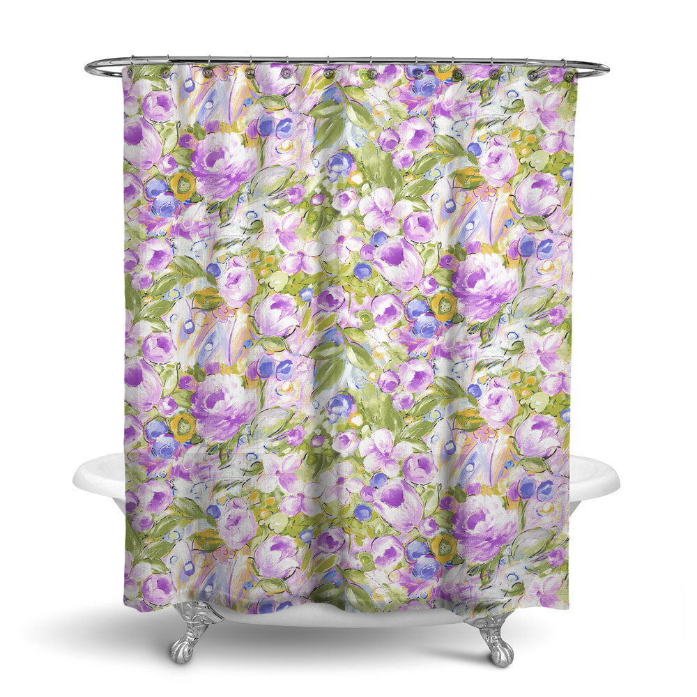 ORONA - FLORAL SHOWER CURTAIN - LAVENDER - FLOWER DESIGN